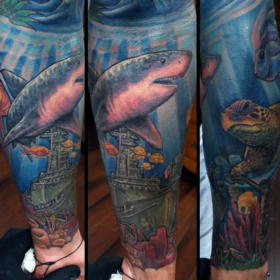 Cool Underwater Forearm Sleeve Sunken Ship Navy Tattoo On Man