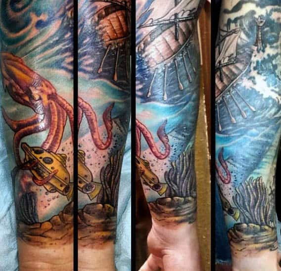 Cool Unerwater Themed Tattoo Of Squid And Diving Boat Sleeve