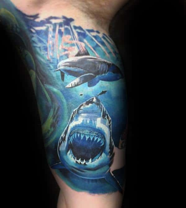 Cool Unique Arm Shark Underwater Mens Quarter Sleeve Tattoo Designs