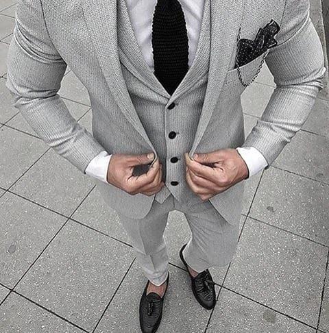 Cool Unique Black Knit Tie Grey Suit Black Shoes Styles For Men
