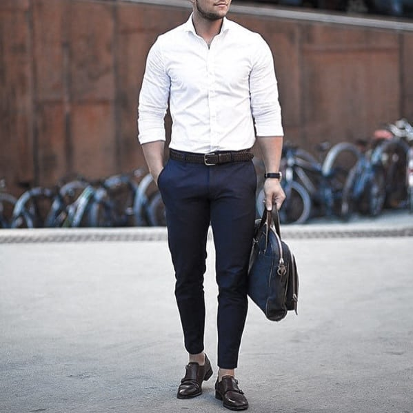 Cool Unique Business Casual Outfits Styles For Men White Dress Shirt Navy Pants Brown Shoes