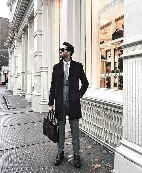 Cool Unique Charcoal Grey Suit Brown Shoes Black Coat Styles For Men