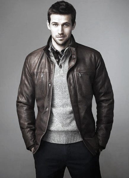 Cool Unique Fall Outfits Styles For Men Brown Leather Jacket With Grey Sweater