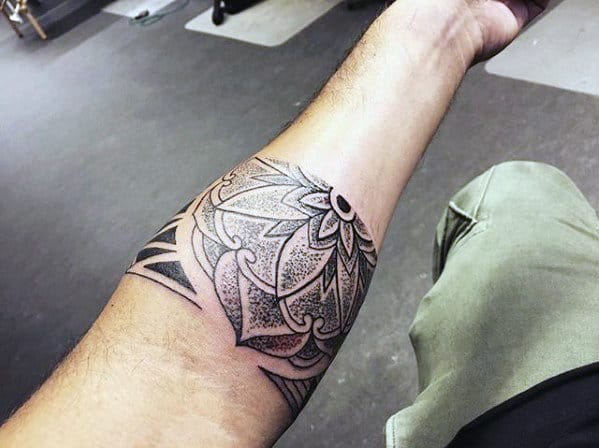 Cool Unique Flower Forearm Band Tattoos For Guys