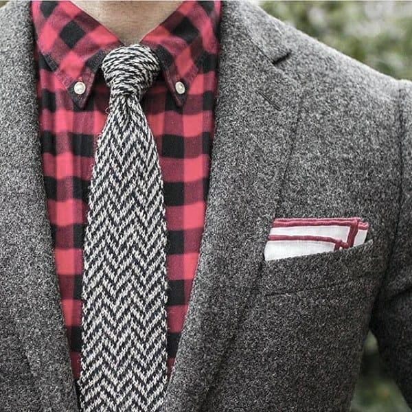 Cool Unique Grey Suit Styles For Men Red Flannel Dress Shirt