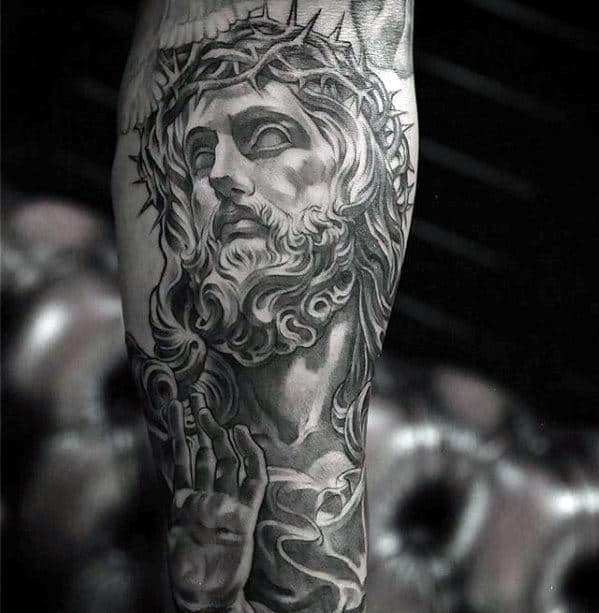 Cool Unique Male Jesus Tattoo On Outer Forearms