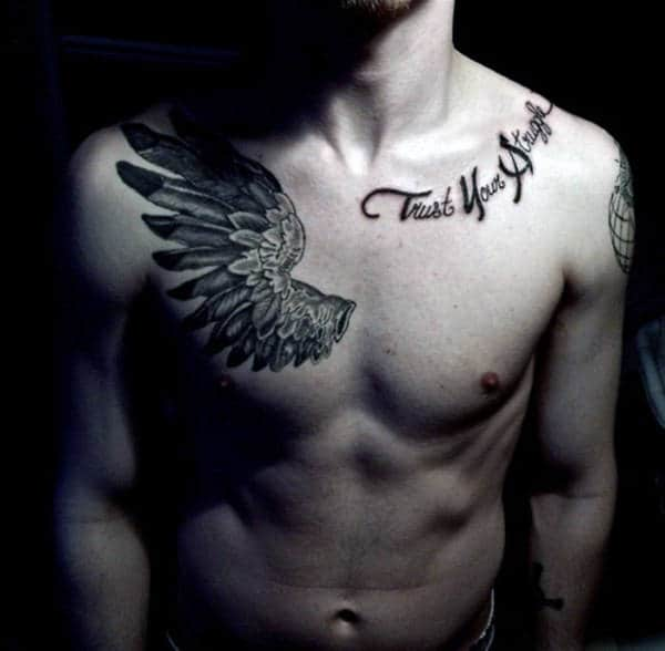 Cool Unique Mens Wing Trust Your Struggle Tattoo On Chest