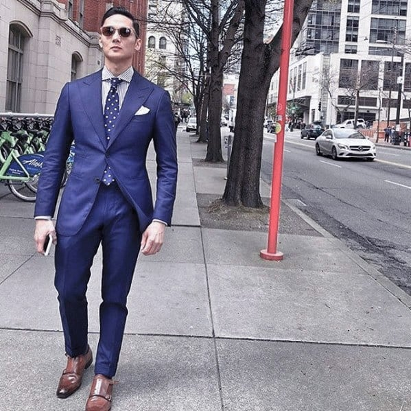 Cool Unique Navy Blue Suit Light Brown Shoes Styles For Men