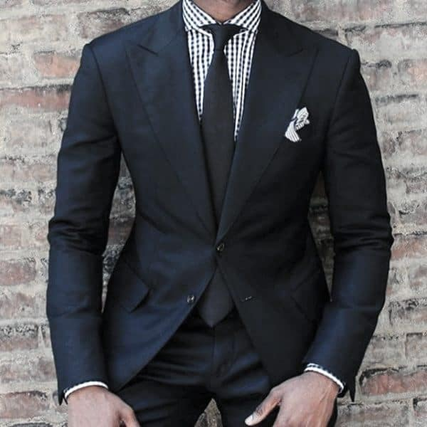 Cool Unique Navy Blue Suit Styles For Men With Checkered Dress Shirt