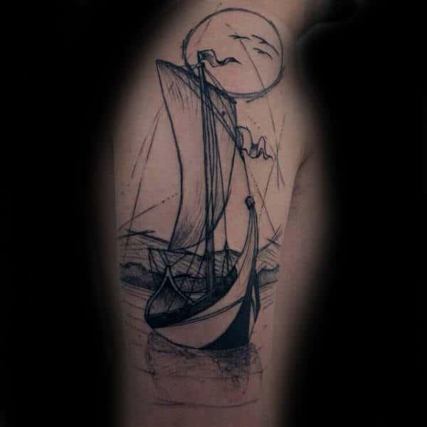Cool Unique Sailboat Male Upper Arm Tattoos