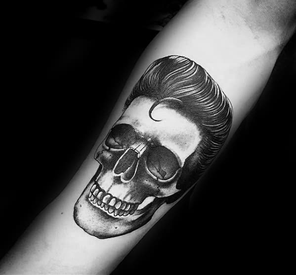 Cool Unique Skull With Greaser Hair Mens 3d Inner Forearm Tattoos