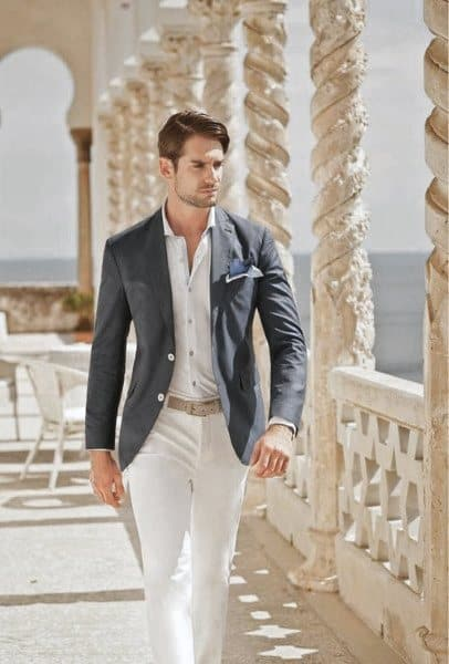 Cool Unique Summer Outfits Styles For Men Blazer With White Pants