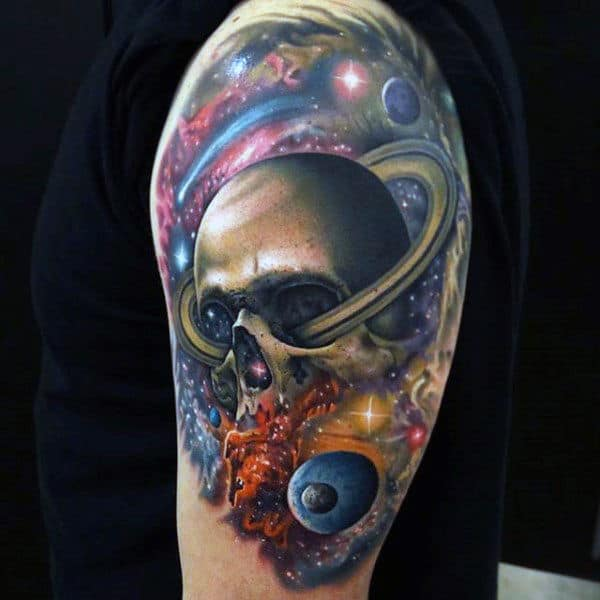 Cool Universe And Rings Around Skull Tattoo For Guys On Upper Arms