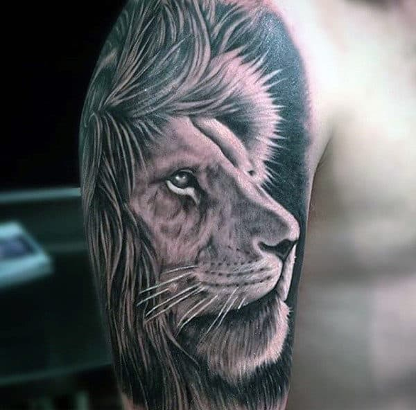 Cool Upper Arm Lion Animal Tattoo On Man