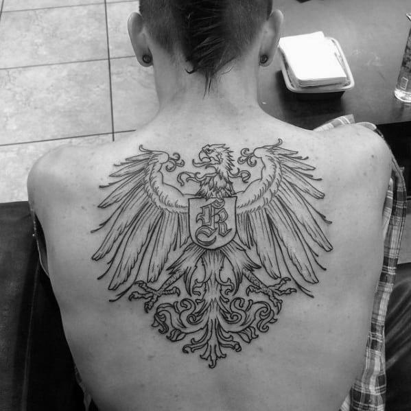 Cool Upper Back Black Ink Outline Male German Eagle Tattoo