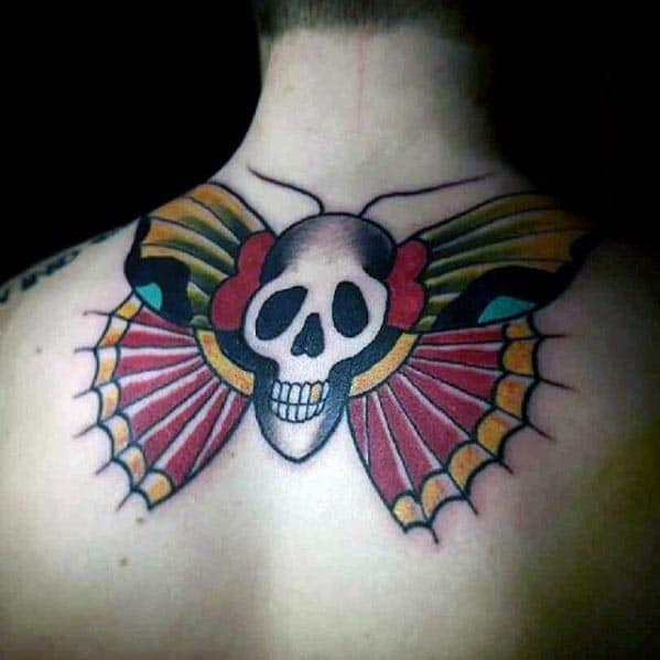 Cool Upper Back Mens Traditional Moth Skull Tattoos