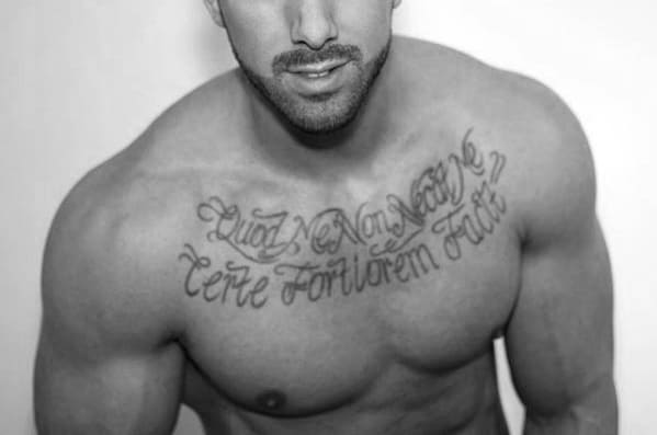 Cool Upper Chest Script Latin Tattoo Design Ideas For Male