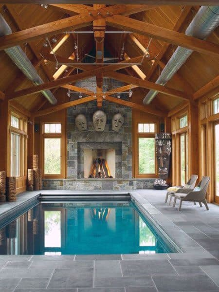 Cool Vaulted Ceiling Design Ideas Swimming Pool Wood Beams