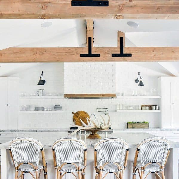 Cool Vaulted Ceiling Wood Beams Natural Finish In Kitchen
