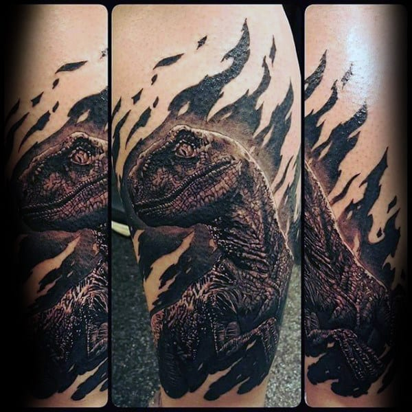 Cool Velociraptor Guys Leg Tattoo With Realistic Design