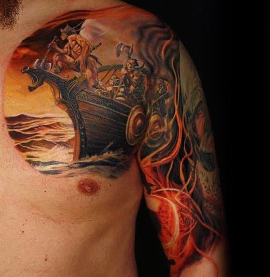 Cool Viking Ship Guys Arm Tattoo Designs