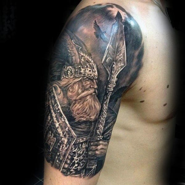 Cool Viking Warrior Dark Sky Arm Tattoos For Guys