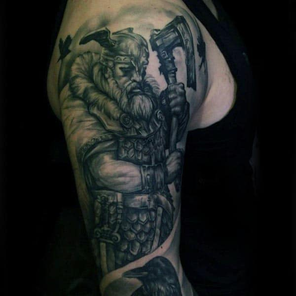 Cool Viking Warrior With Axe Guys Arm Tattoo Design Ideas