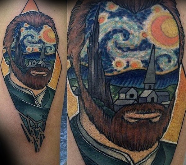 Cool Vincent Van Gogh Portrait Painting Mens Forearm Tattoo