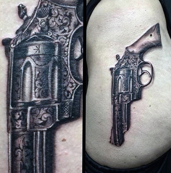 Cool Vintage Gun Tattoos On Men