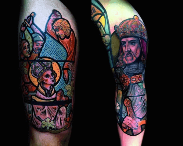 Cool Vintage Male Stained Glass Half Sleeve Tattoos