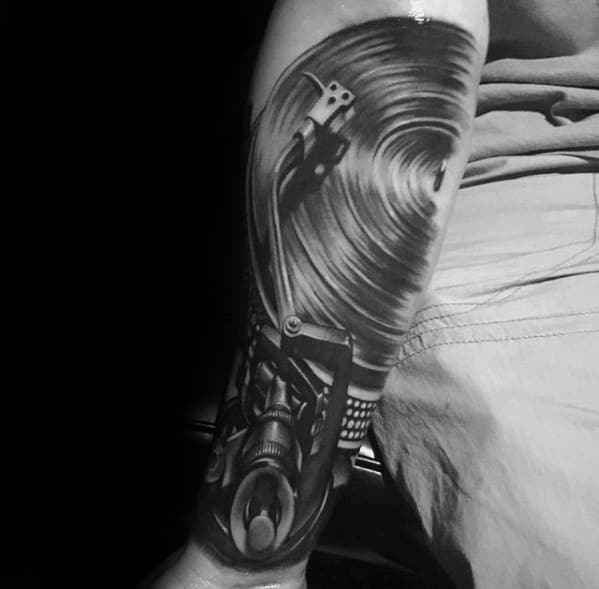 Cool Vinyl Record Tattoo Design Ideas For Male Outer Forearm