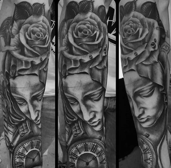 Cool Virgin Mary Pocket Watch And Rose Flower Mens Sleeve Tattoos