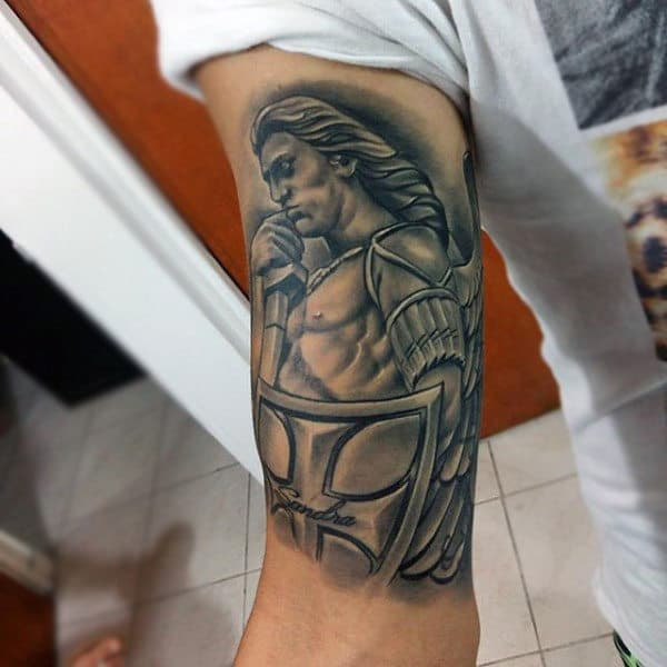 Cool Warrior Guardian Angel Tattoo Mens Arms