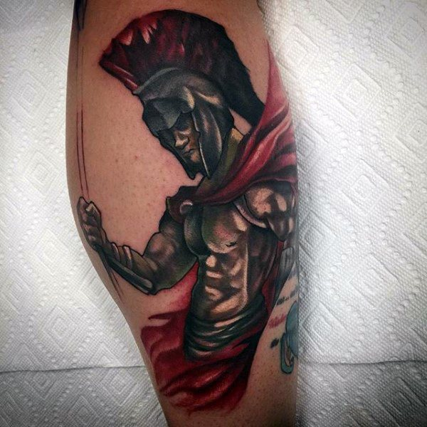 Cool Warrior Tattoo With Contrast Red Shades Tattoo Guys Calves
