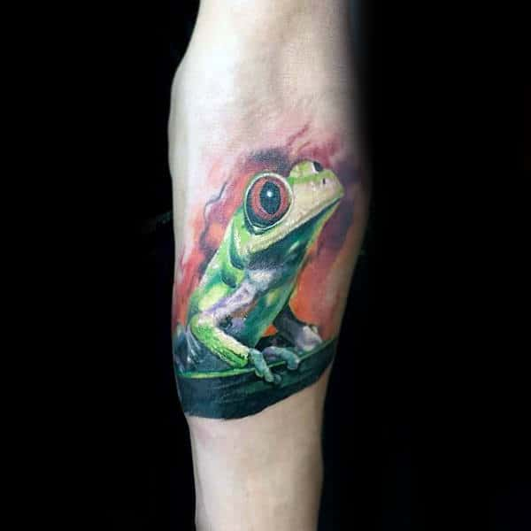 Cool Watercolor 3d Inner Forearm Frog Tattoos For Males
