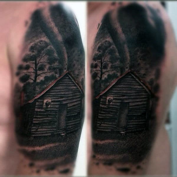 Cool Watercolor Background Male Tornado With Cabin Arm Tattoos