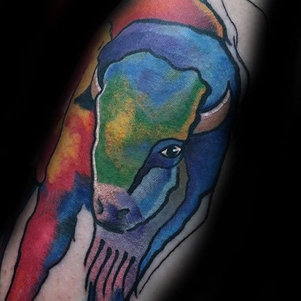 Cool Watercolor Bison Mens Arm Tattoo