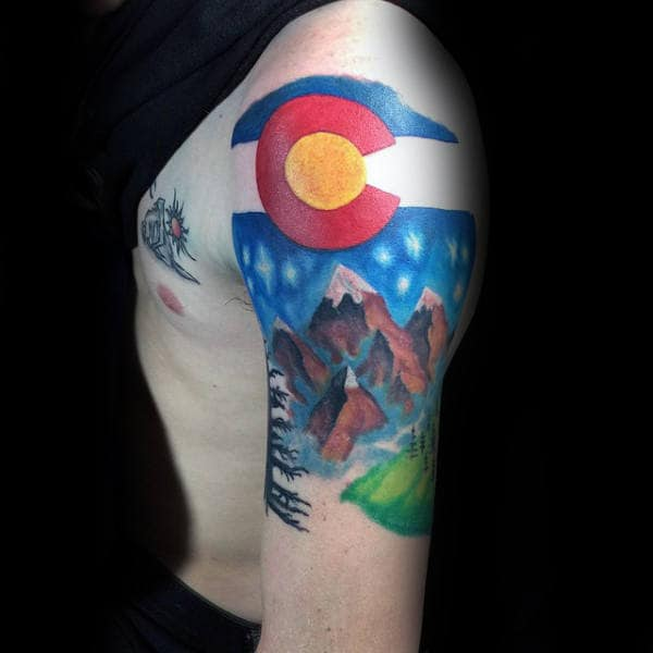 Cool Watercolor Colorado Tattoo On Man Half Sleeve Design