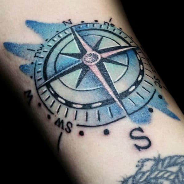 Cool Watercolor Compass Forearm Tattoo Ideas For Guys