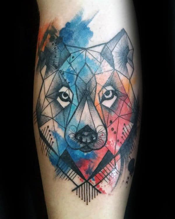 cool-watercolor-geometric-wolf-mens-arm-tattoo-designs