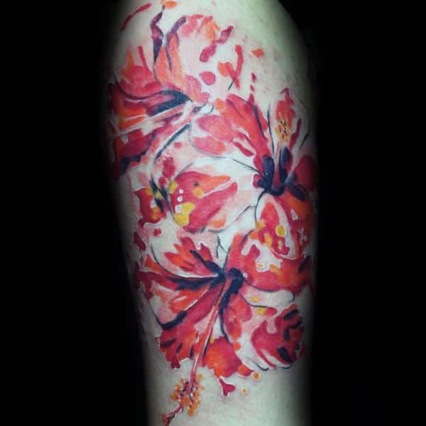 Cool Watercolor Guys Hibiscus Flowers Tattoo