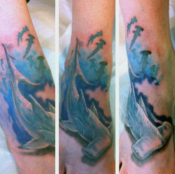 Cool Watercolor Hammerhead Shark Foot Tattoos For Guys