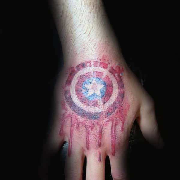 Cool Watercolor Hand Tattos For Men With Captain America Shield
