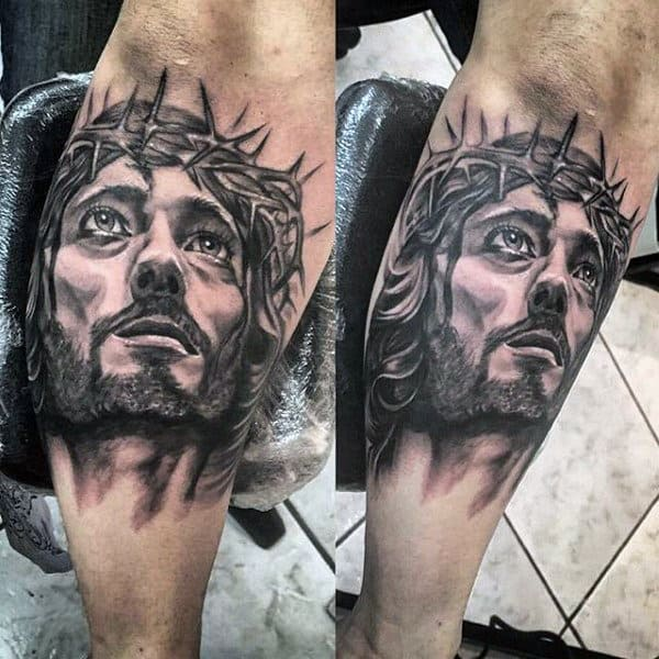 Cool Watercolor Jesus Leg Tattoos For Males