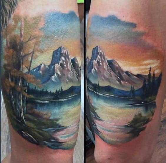 Cool Watercolor Landscape Arm Tattoos For Guys