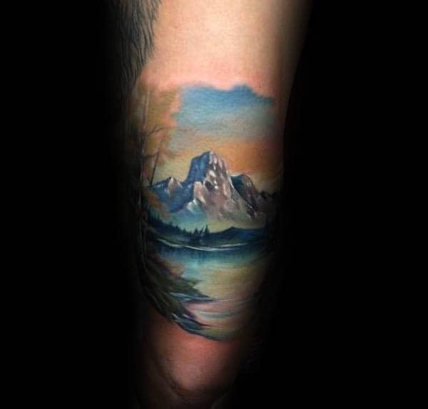 Cool Watercolor Landscape Tattoo On Gentlemans Thigh