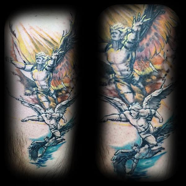 Cool Watercolor Male Icarus Tattoo Design Ideas