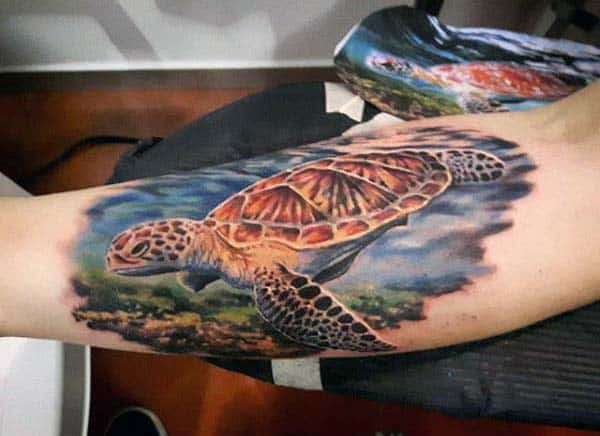 Cool Watercolor Mens Inner Forearm Turtle Tattoo Ideas