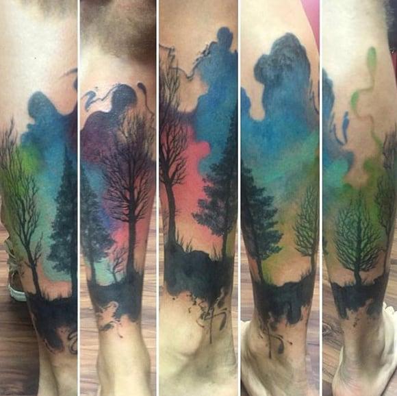 Cool Watercolor Mens Tree Sleeve Leg Tattoo