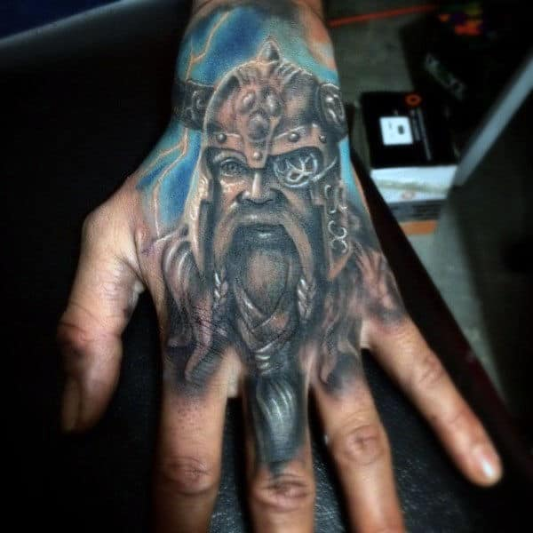Cool Watercolor Odin Mens Hand Tattoos
